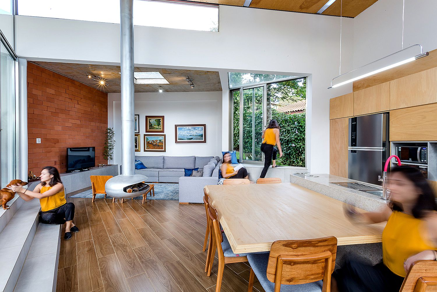 Living area of the house opens up into the spacious balcony at the entrance