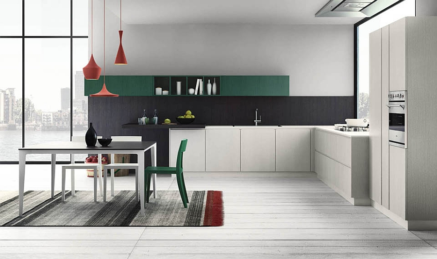 Minimal and steamlined contemporary modular Italian kitchen design wows