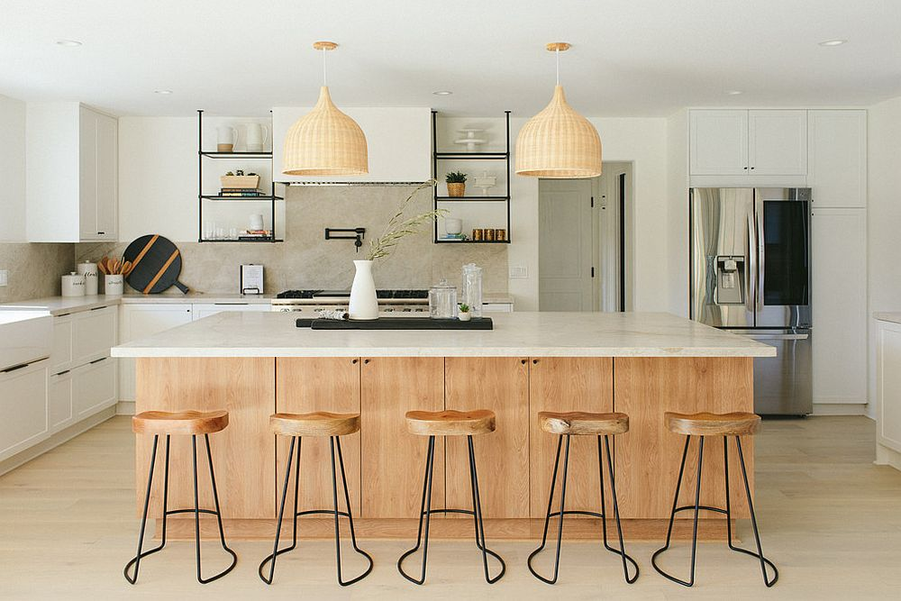 Natural wood tones and finishes make the kitchen feel much more relaxing