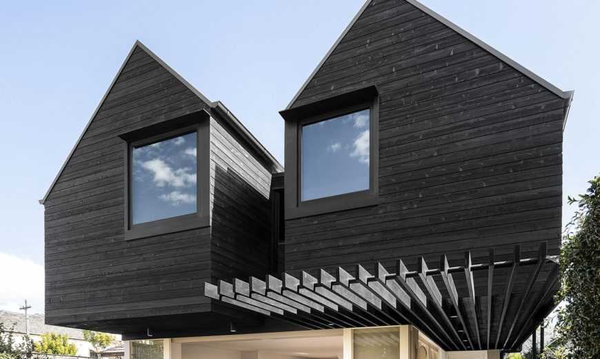 Black Twin Peaks Cottage Style Structure in the Rear Extends Aging Aussie Home