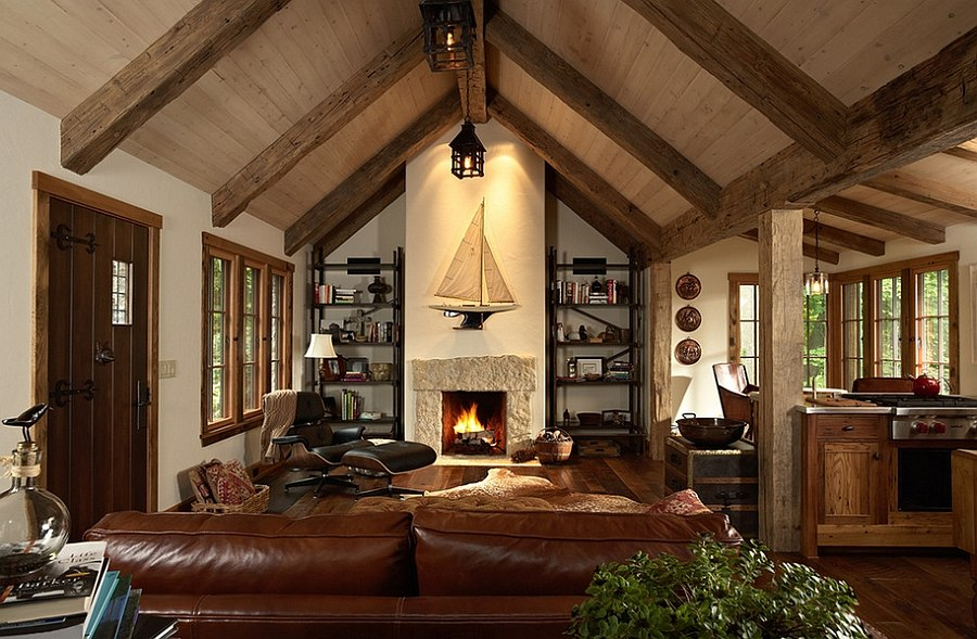 Oak timber beams for the spacious living room with vaulted ceiling
