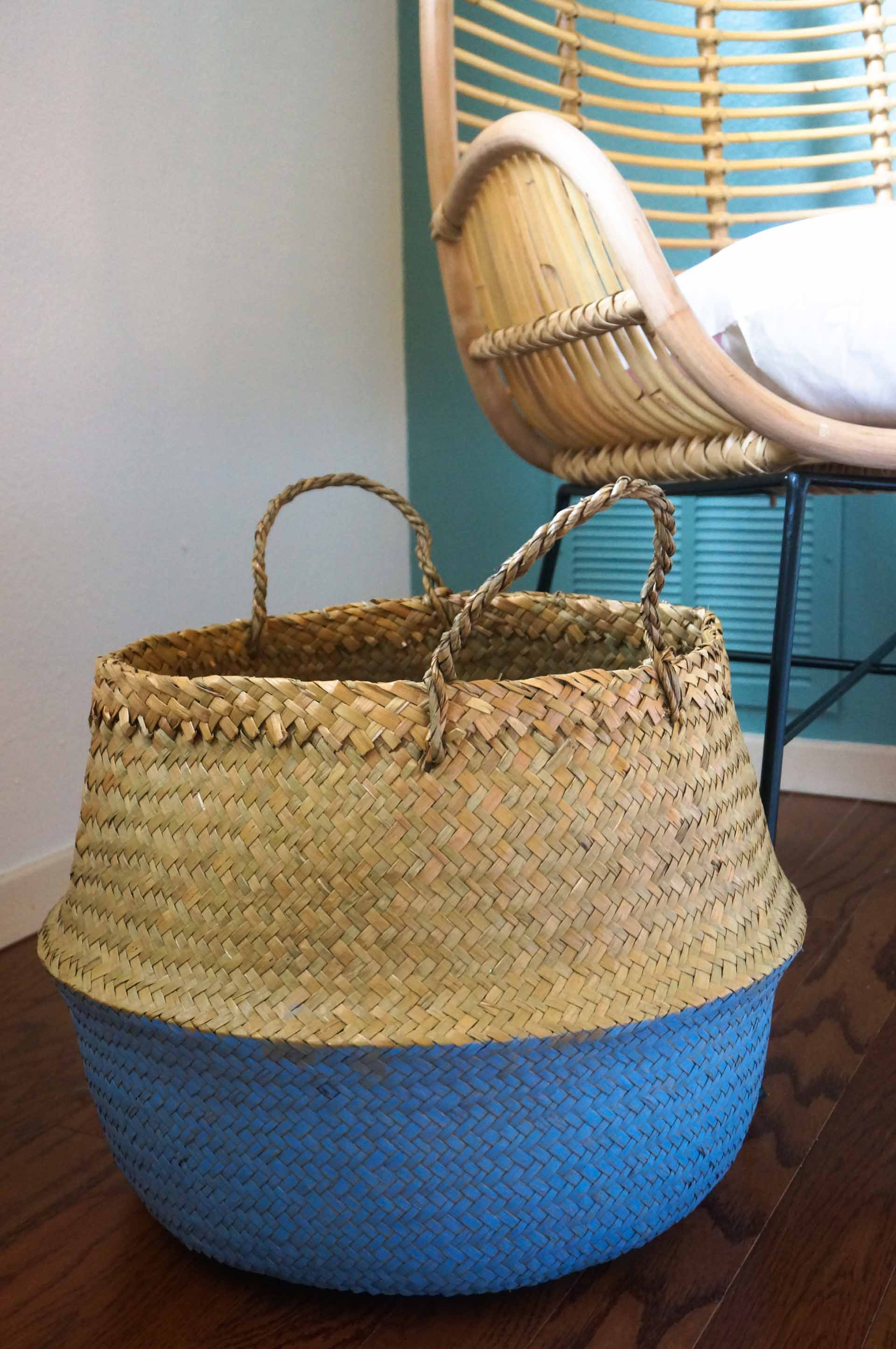 Painted seagrass belly basket