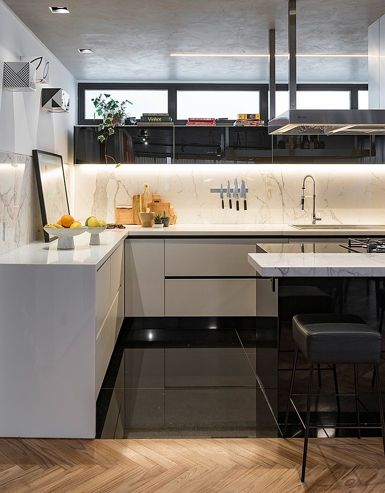 Polished-kitchen-and-interior-of-the-Concrete-Apartment-in-Sao-Paulo