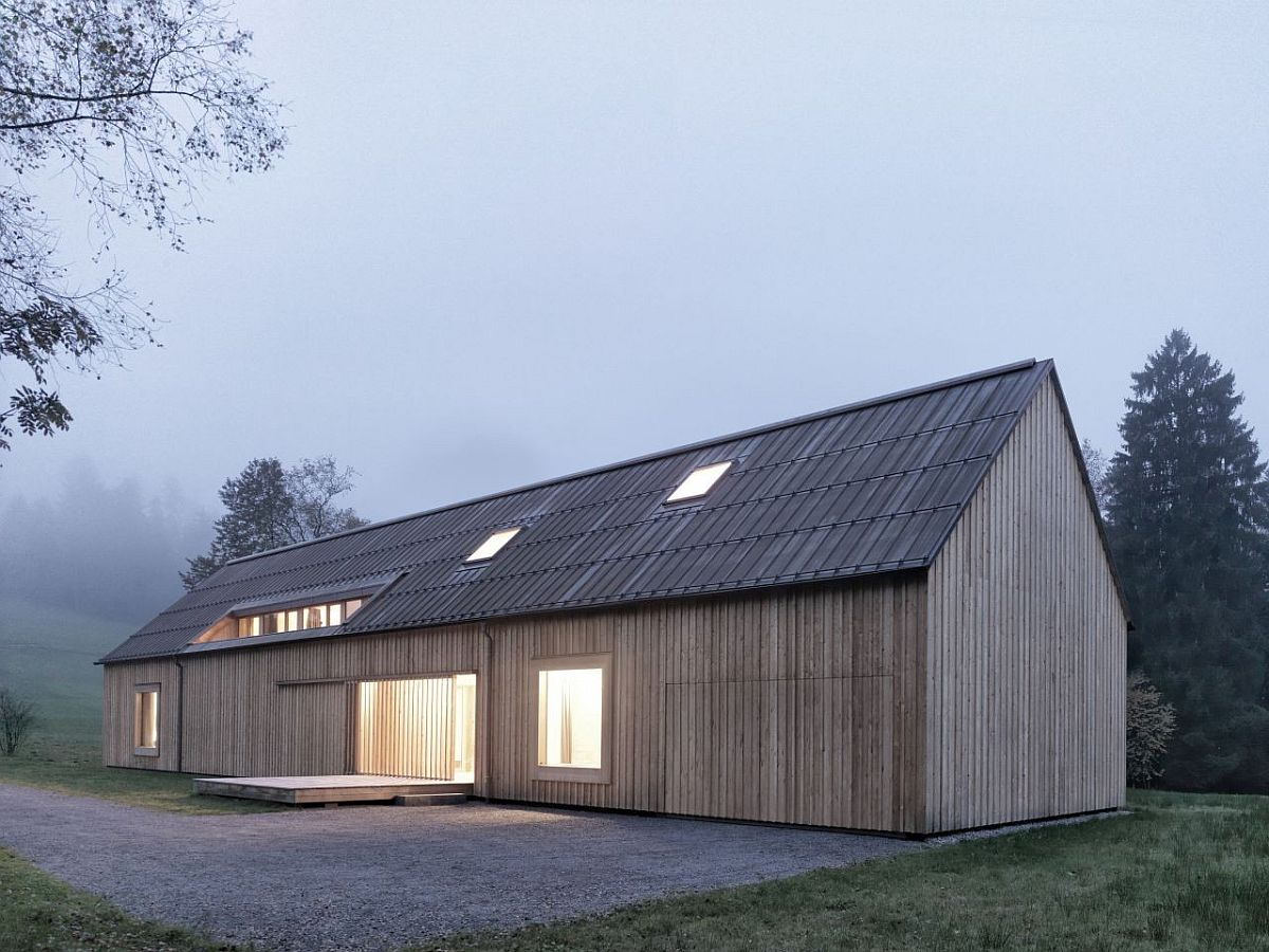 Rectangular base and gabled roof creates a picture-perfect home in Austria