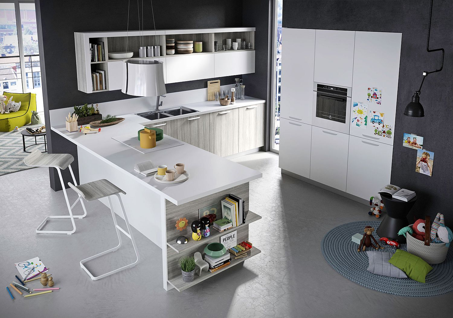 Refined adaptable contemporary kitchen with an edgy twist