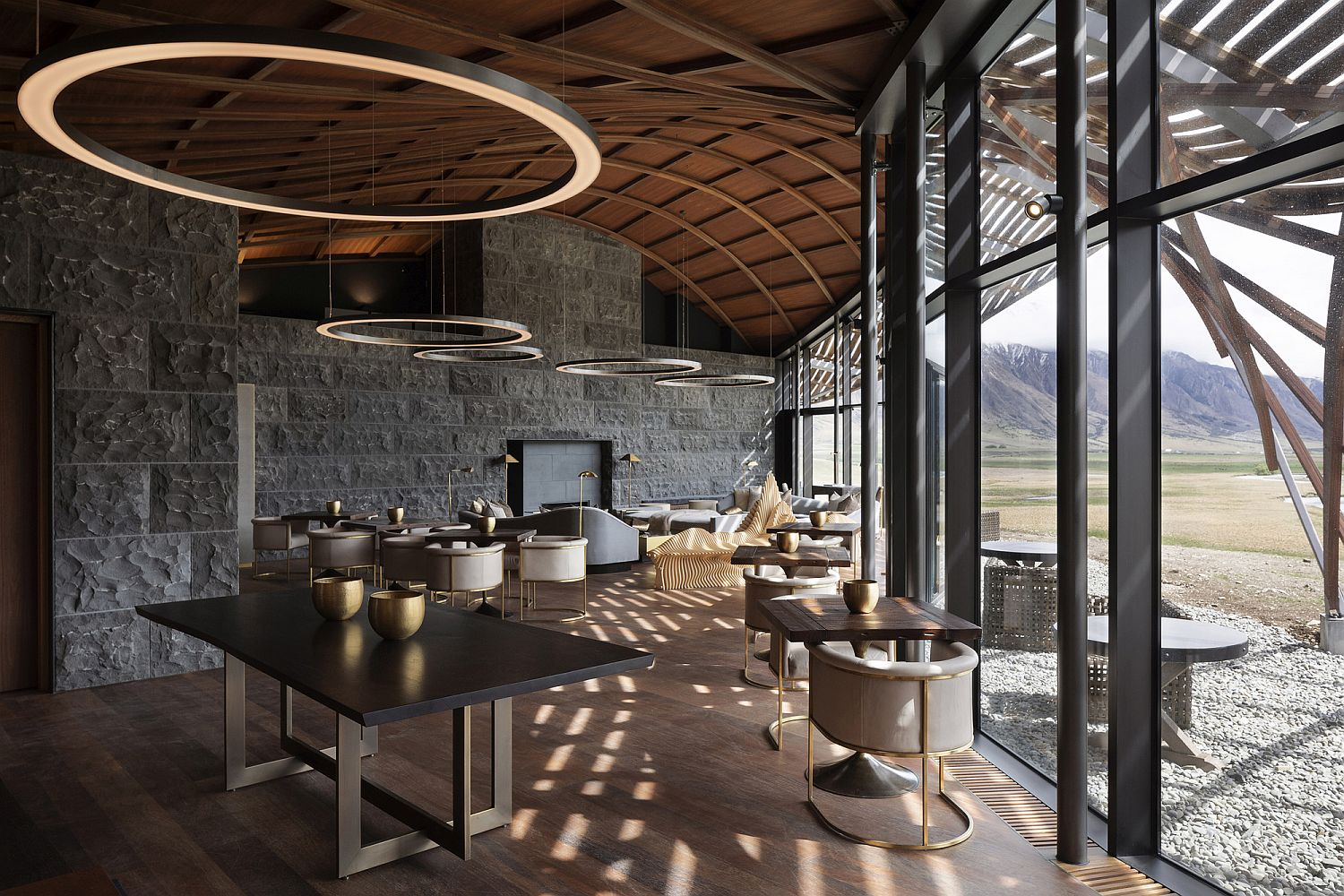 Spotted Gum hardwood lamella, stone and modernity of the lodge