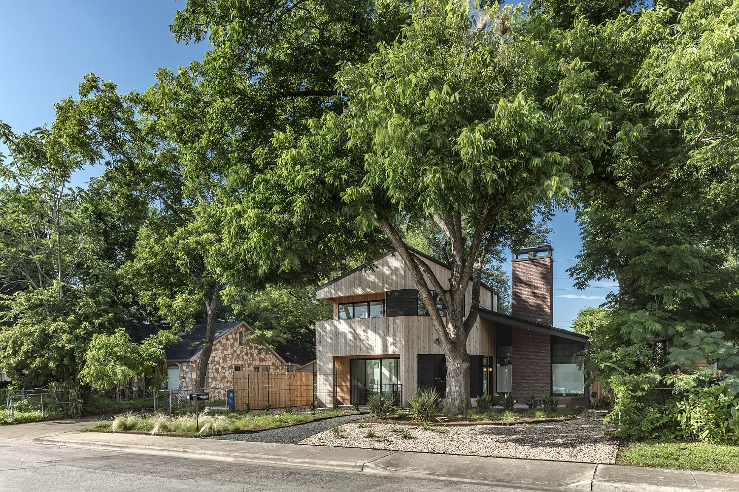 Street facade of the Hewn House in Austin