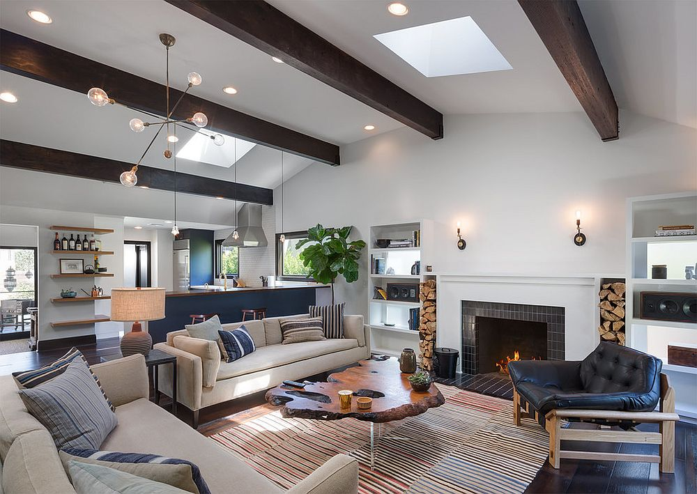 Striking use of ceiling beams in the contemporary living room of LA home