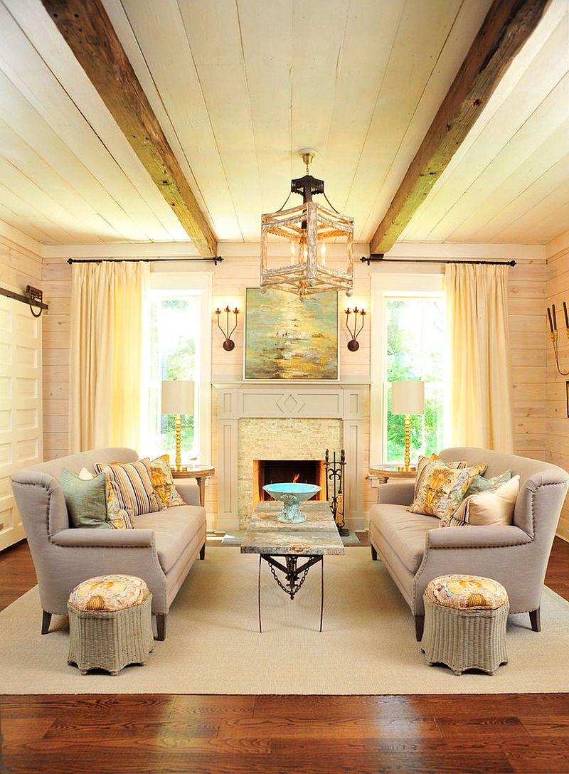 Twin ceiling beams make a strong visual statement here!