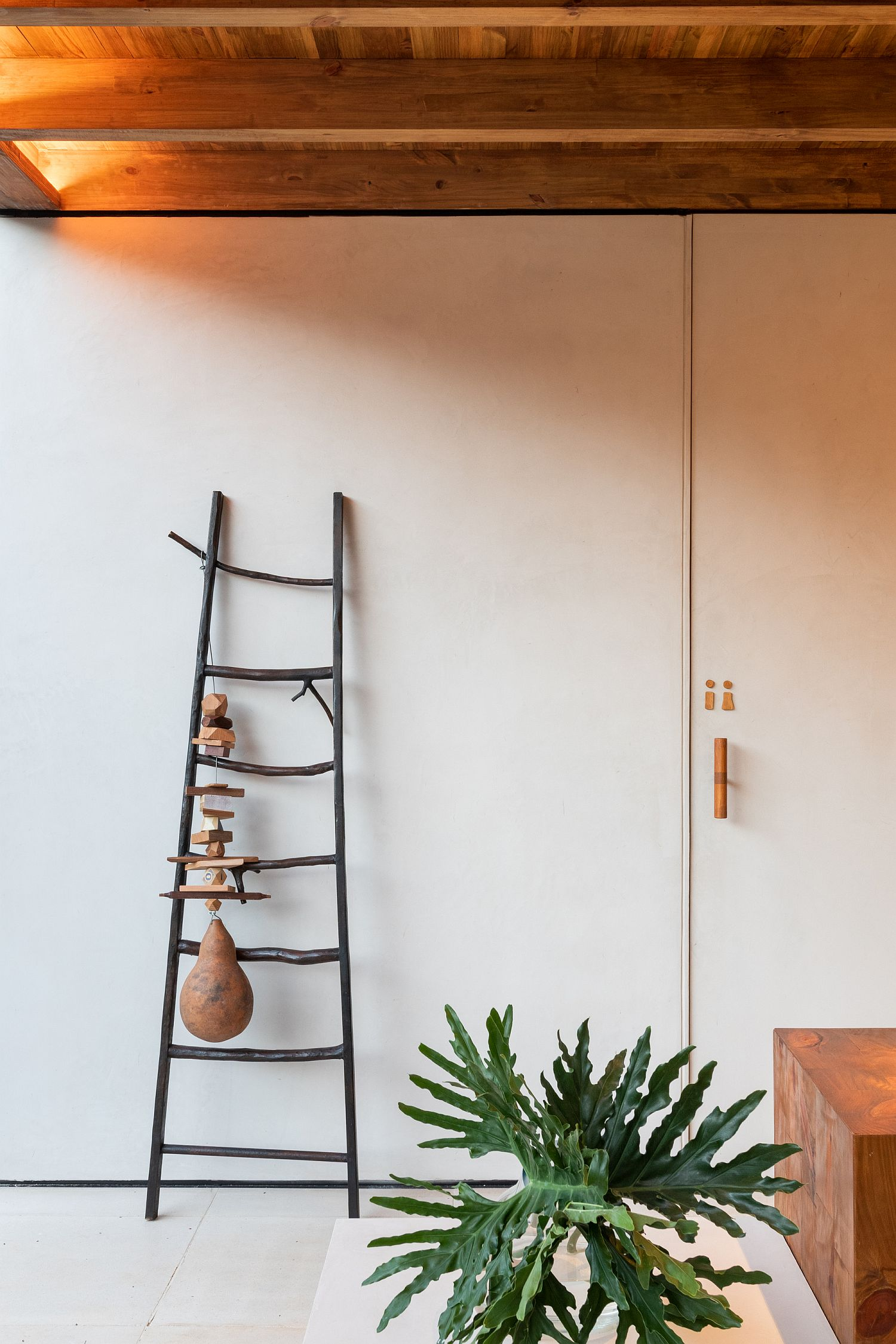 Using the restored ladder as a decorative piece with native touches