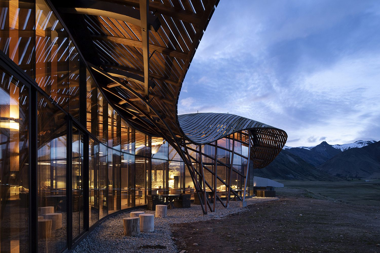 Wavy and unique roof form of the lodge inspired by glacial moraines