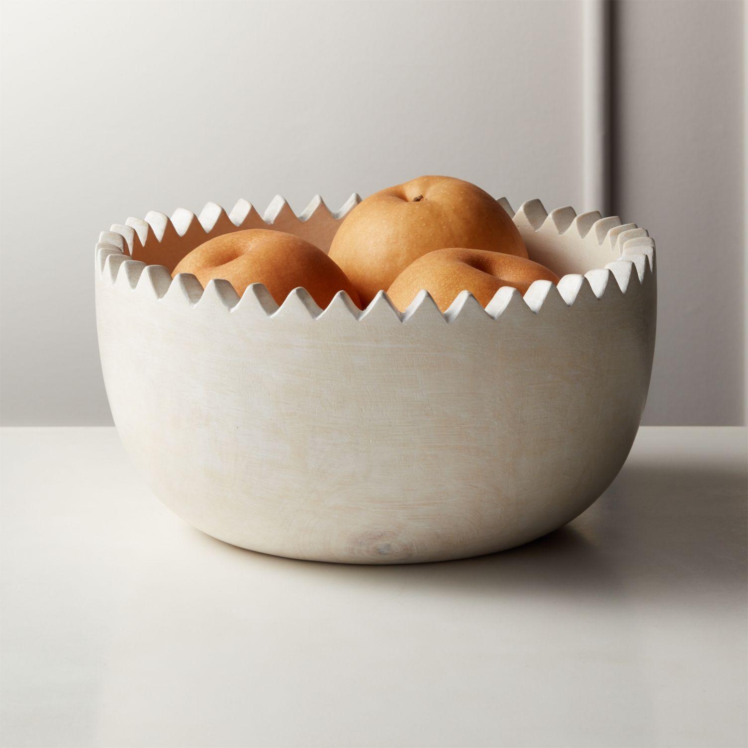 Whitewashed mango wood bowl