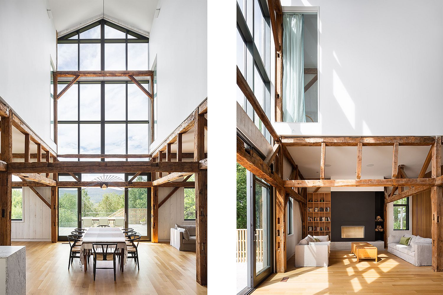 30-foot high ceilinsg of the house make a big impact in the dining room and kitchen