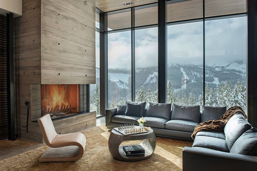 Amazing views of Big Sky from the living room steal the show here