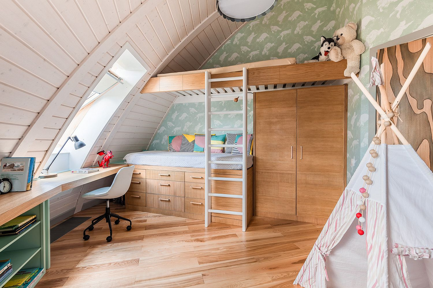Attic bedroom with bunk bed that provides plenty of storage options