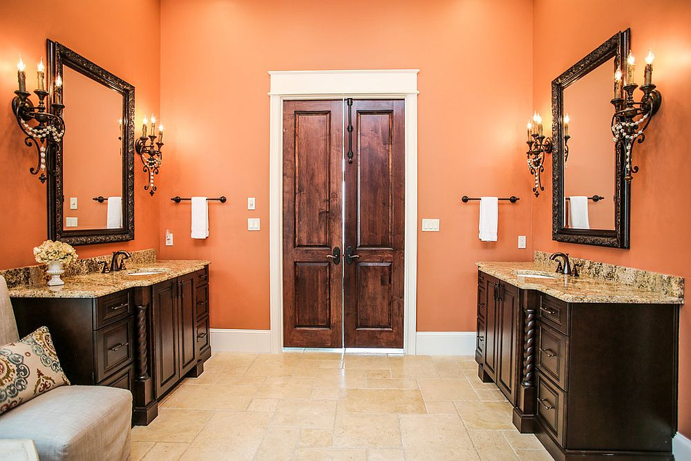 Awesome orange and black bathroom with traditional-contemporary style