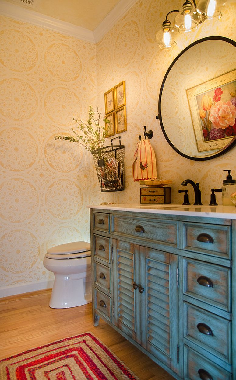 Awesome wallpaper in yellow for the small shabby chic powder room
