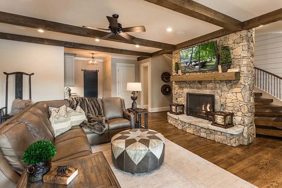 Basement living room with rustic style coupled with modernity