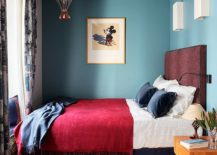 Beautiful-use-of-color-in-the-small-eclectic-London-bedroom-217x155