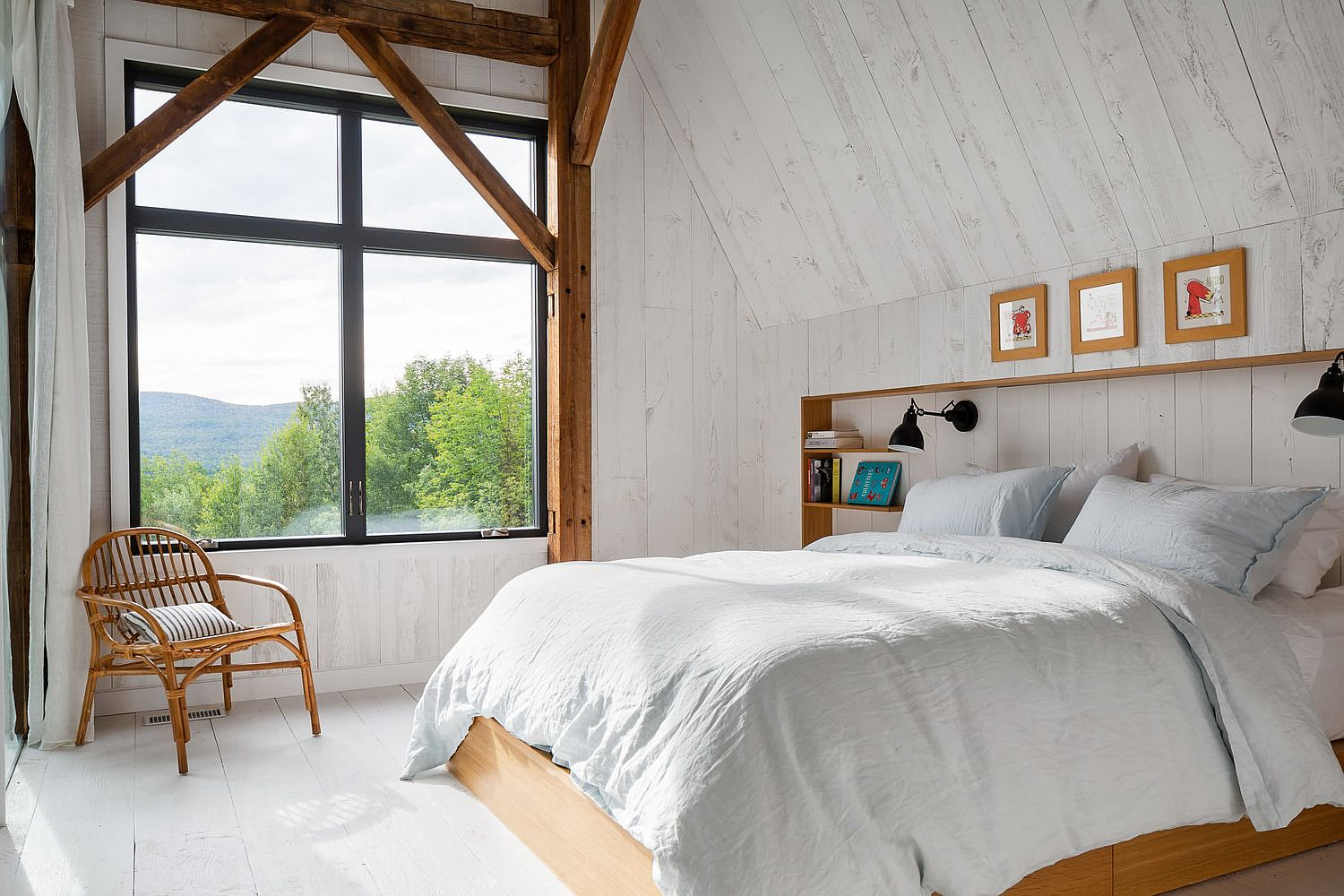 Bedroom in white feels both modern and rustic at the same time
