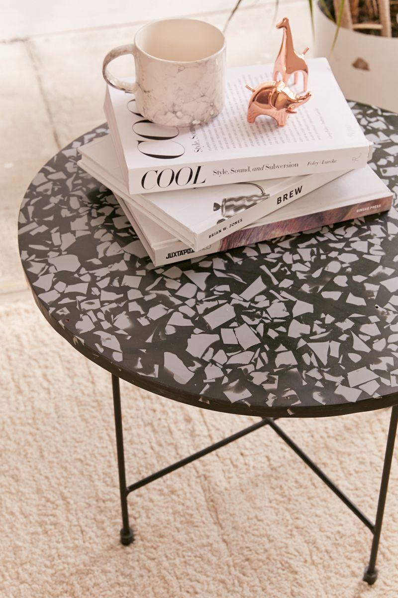 Black terrazzo coffee table
