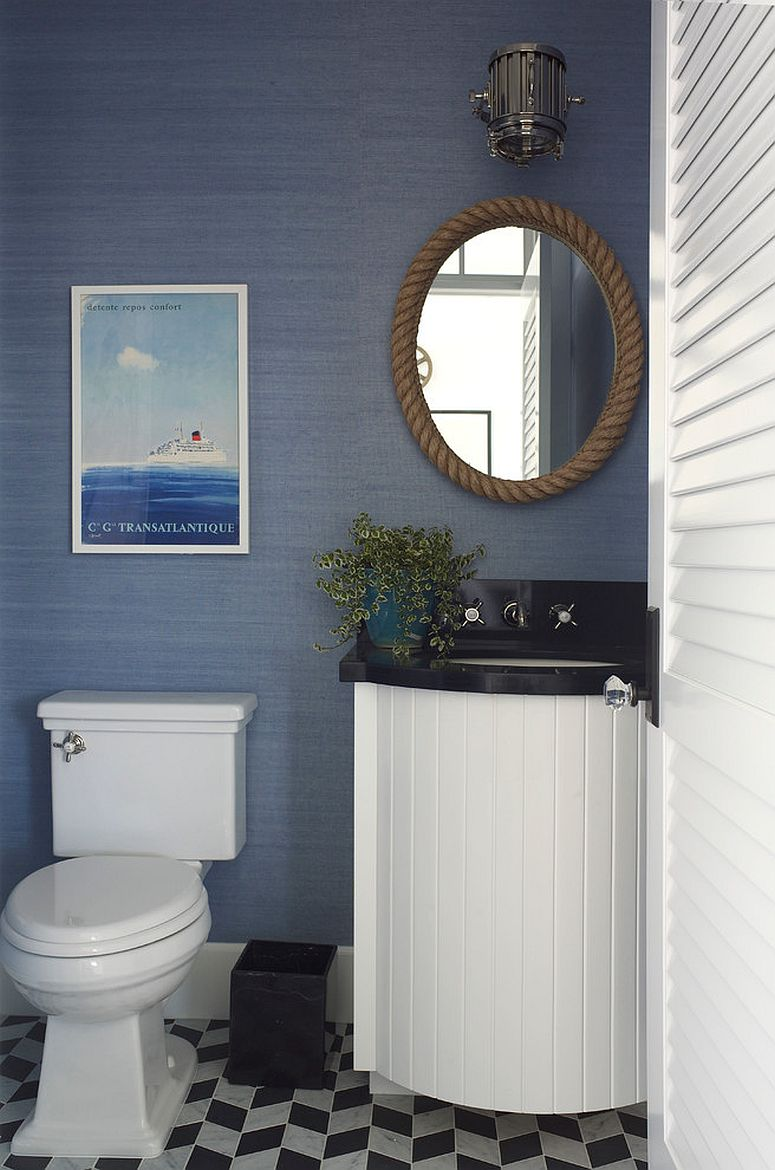 Blue and white powder room with modern coastal style