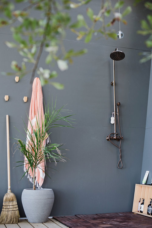 Bluish gray for the outdoor shower with a touch of green