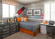Brilliant-modern-industrial-bedroom-in-gray-with-beautiful-orange-accents-217x155