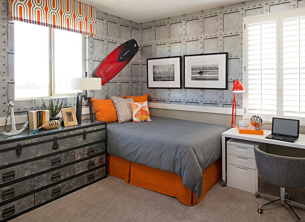 Brilliant modern industrial bedroom in gray with beautiful orange accents