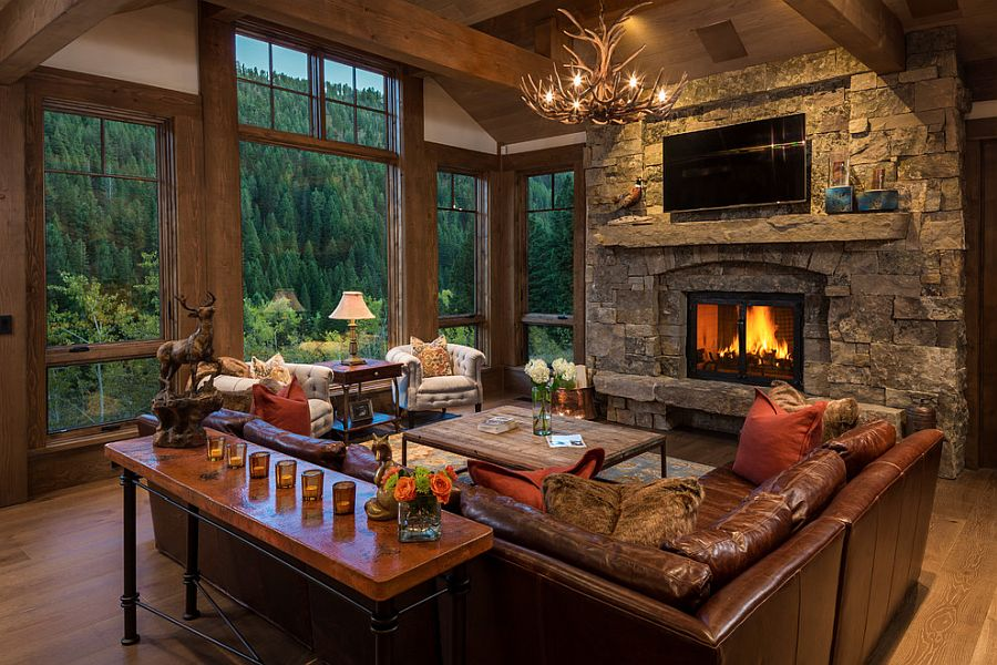 Classic rustic living room with comfy decor and lovely lighting