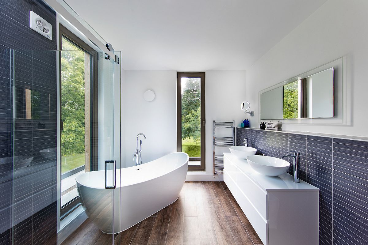 Contemporary bathroom of the house in wood, white and gray