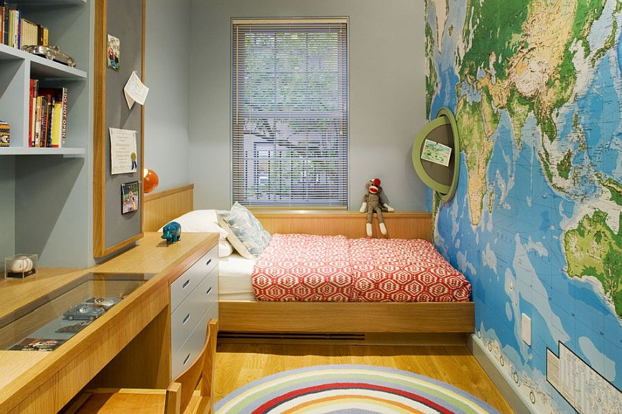 Contemporary kids' room of New York home with a map on the accent wall