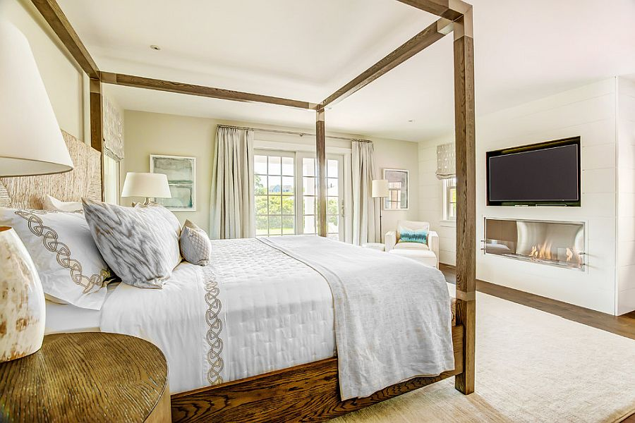 Cozy beach style bedroom in white with wooden decor and natural finishes