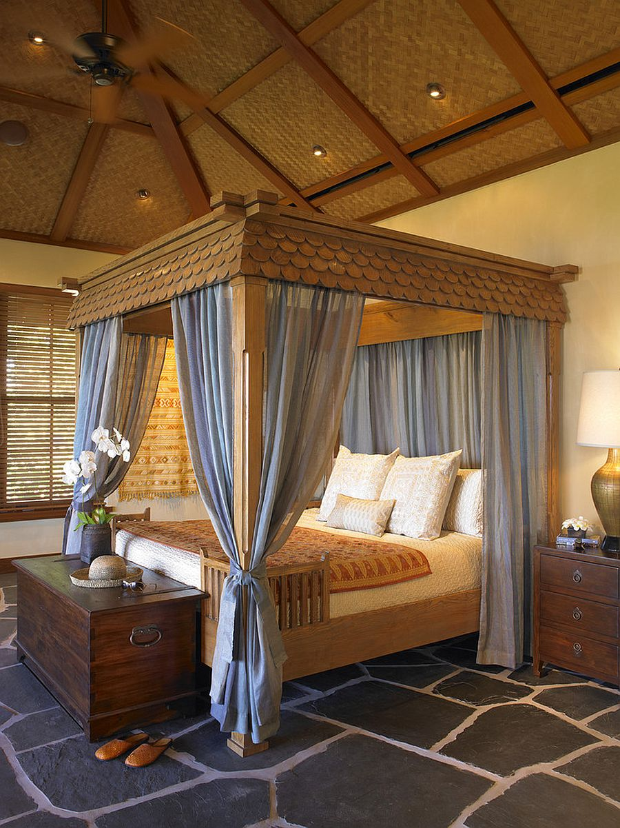 Custom canopy bed in the tropical style bedroom is a showstopper