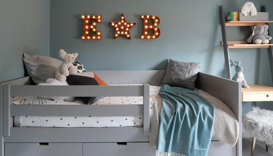 Dashing Scandinavian style kids' room in grayish-blue