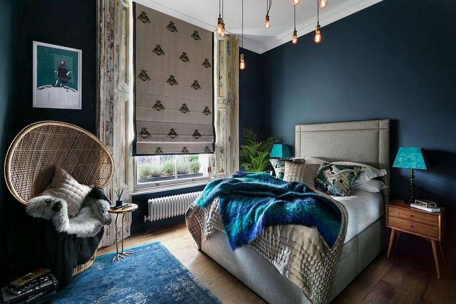 Dashing bedroom in blue feels sophisticated and fun