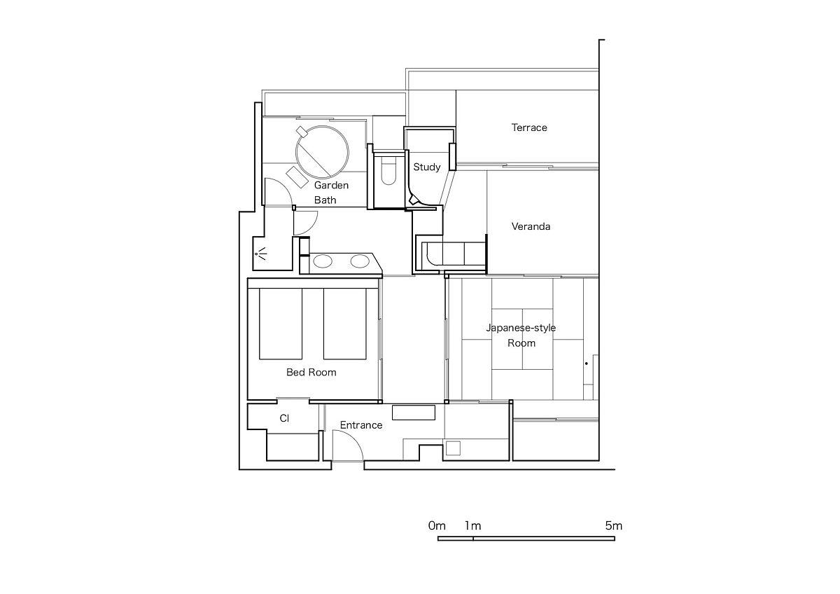 Design plan of the Beniya Mukayu Byakuroku in Japan