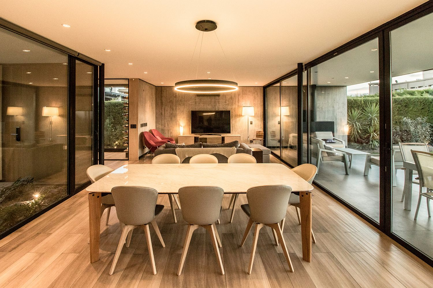 Dining space and living area of the LL House