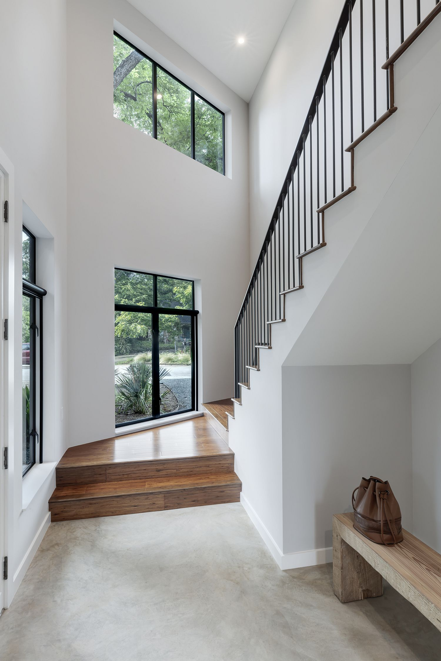 Entry room of the Hewn House in white