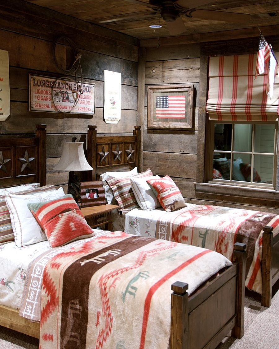 Exquisite cabin-style kids' bedroom with rustic beauty