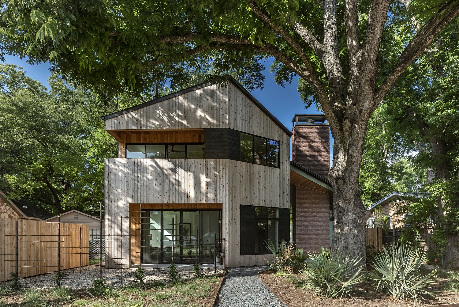 Fabulous wood facade of the house feels smart and stylish