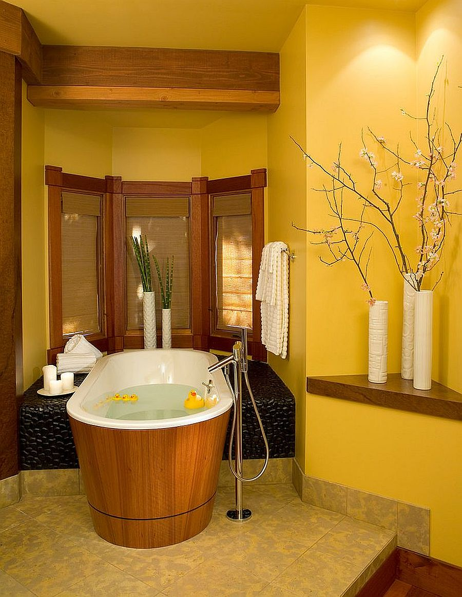 Fabulous yellow bathroom embraces Asian style
