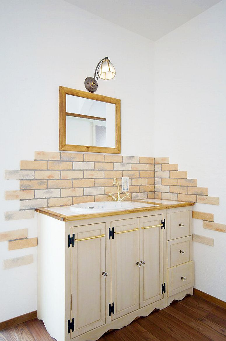 Faux brick wall feature for the small shabby chic powder room
