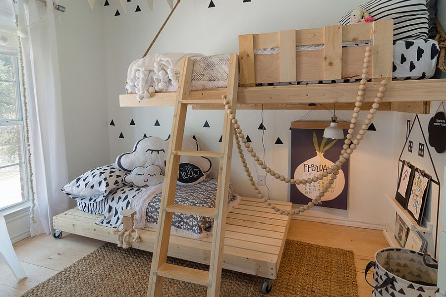 Gorgeous wood and white Scandinavian style kids' bedroom with innovative bunk beds