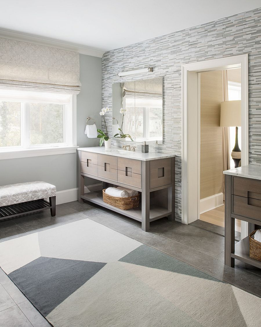 Gray and white combined with lighter shades of wood for a gorgeous bathroom