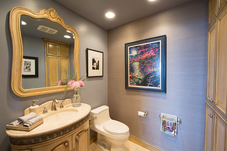 Gray walls in the powder room turn the shabby chic style into modern panache