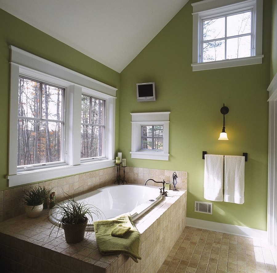 Green with matte finish is perfect for the fall bathroom with ample natural light