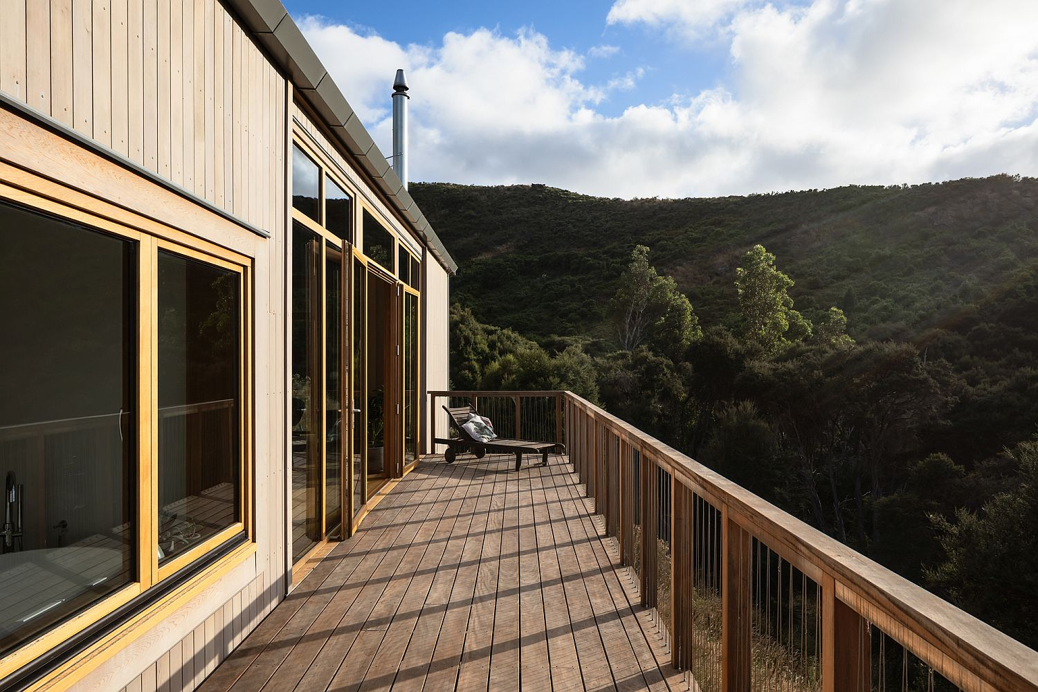 Large deck in timber of the New Zealand home with brilliant views
