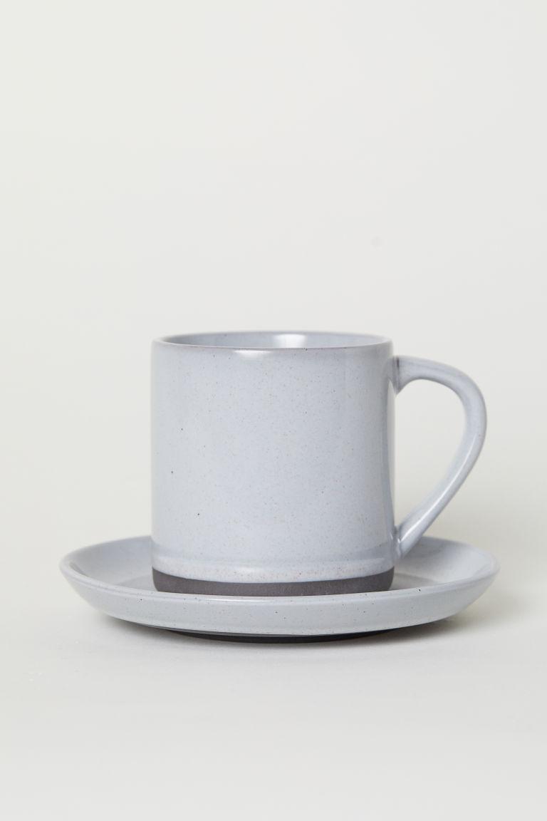 Light gray stoneware mug