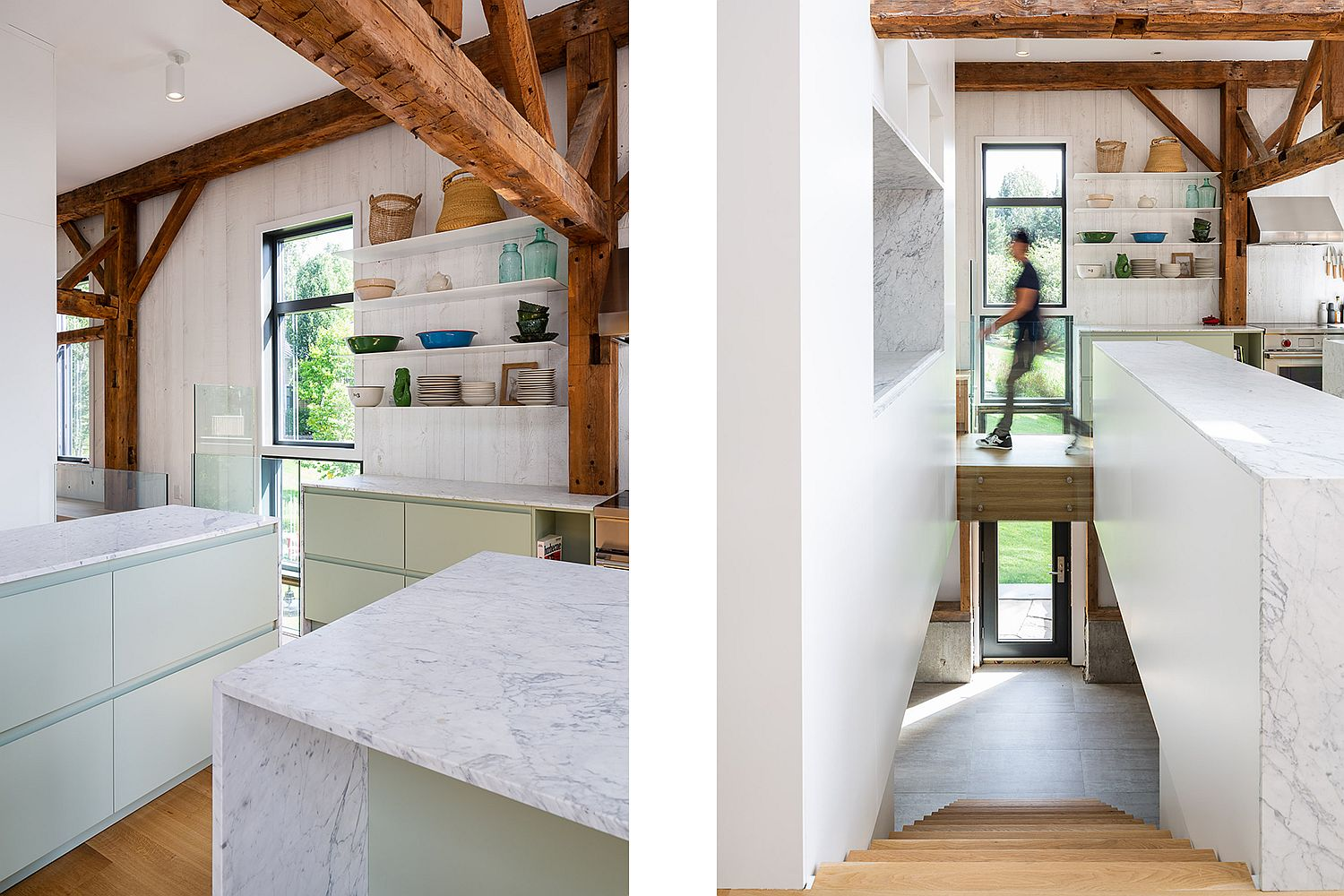 Look at the gorgeous kitchen in white with wooden beams all around
